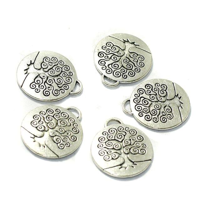 10 Pcs German Silver Tree of Life Charms 23mm