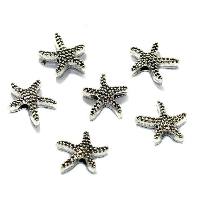 10 Pcs German Silver Star Fish Spacer Charms 16mm