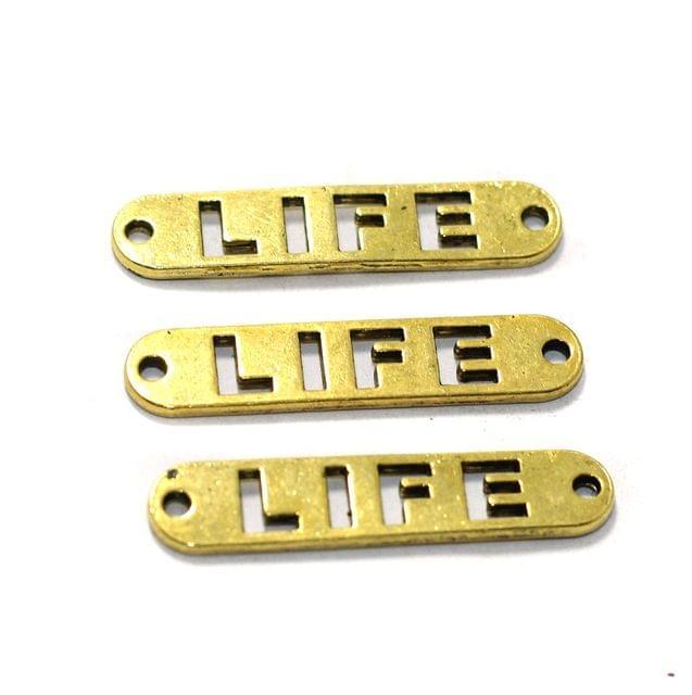 10 Pcs German Silver LIFE Connectors Gold 321mm