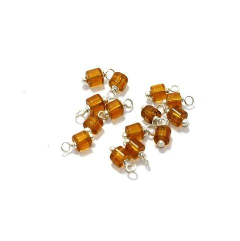 100 Pcs, 4mm Glass Loreal Beads Topaz Silver Plated