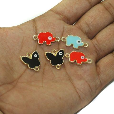 5 Pcs Evil Eye Butterfly and Elephant Connectors Charms Assorted Color