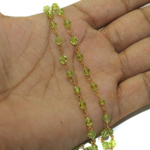 5 Mtrs Glass Beaded Chain Bicone 4mm