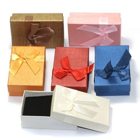 6 Paper Empty Gift Box With Ribbon, Size 8x5x2.5 Cms