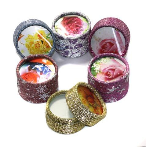 6 Paper Empty Gift Box Round With Ribbon, Size 4x5 Cms
