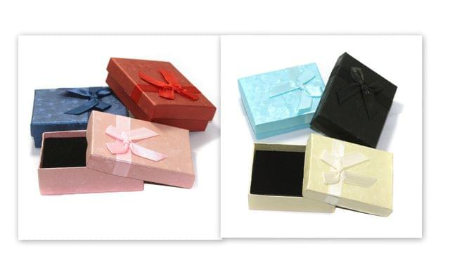 6 Paper Empty Gift Box Square With Ribbon, Size 9x7x3 Cms