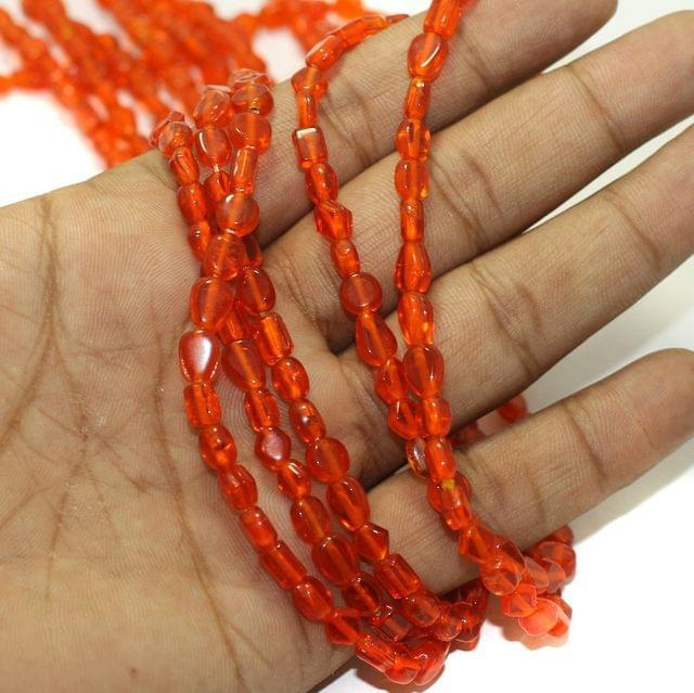 5 Strings Fire Polish Plain Glass Beads Orange