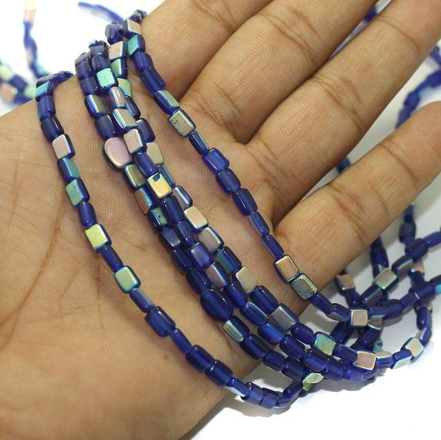 5 Strings Fire Polish Rainbow Glass Beads Blue