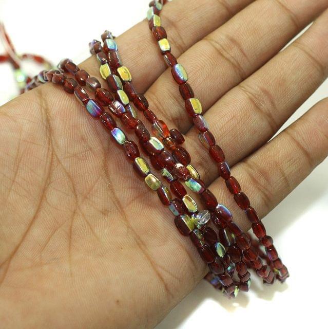 5 Strings Fire Polish Rainbow Glass Beads Mahroon