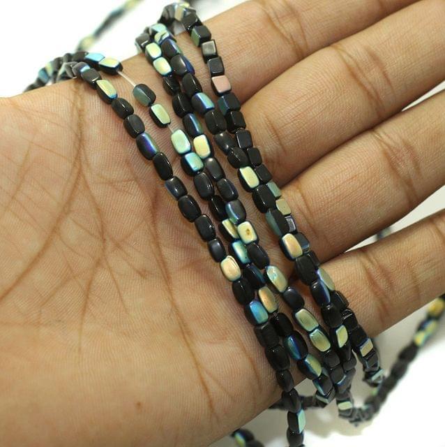 5 Strings Fire Polish Rainbow Glass Beads Black