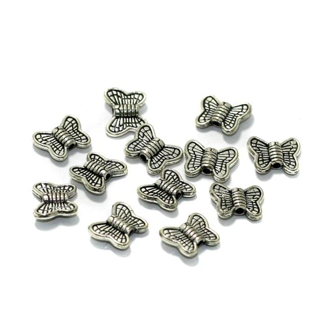 50 Pcs German Silver Butterfly Spacer Beads 8x10mm