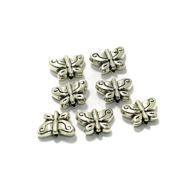 50 Pcs German Silver Butterfly Spacer Beads 7x10mm