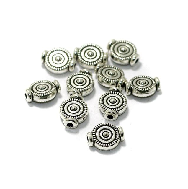 50 Pcs German Silver Spacer Beads 10x7mm