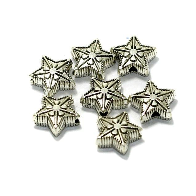 50 Pcs German Silver Star Spacer Beads 10mm