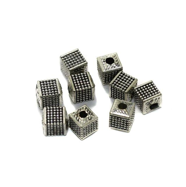 50 Pcs German Silver Spacer Beads 7x6mm