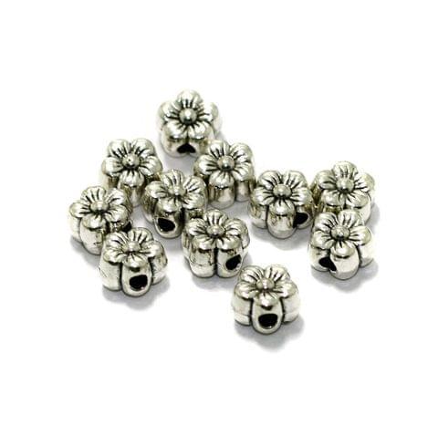 50 Pcs German Silver Flower Spacer Beads 6mm