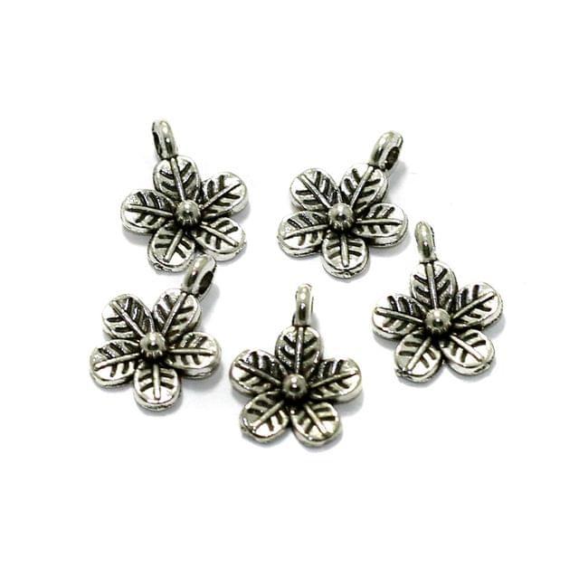 50 Pcs German Silver Flower Charms 12mm