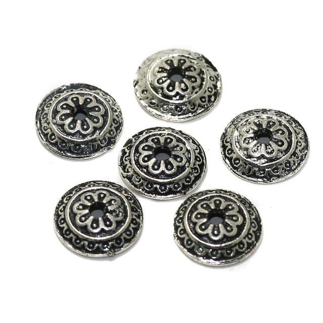 50 Pcs German Silver Beads Caps 13mm