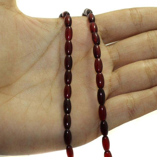 5 Strings Fire Polish Oval Glass Beads Mahroon 8x4mm
