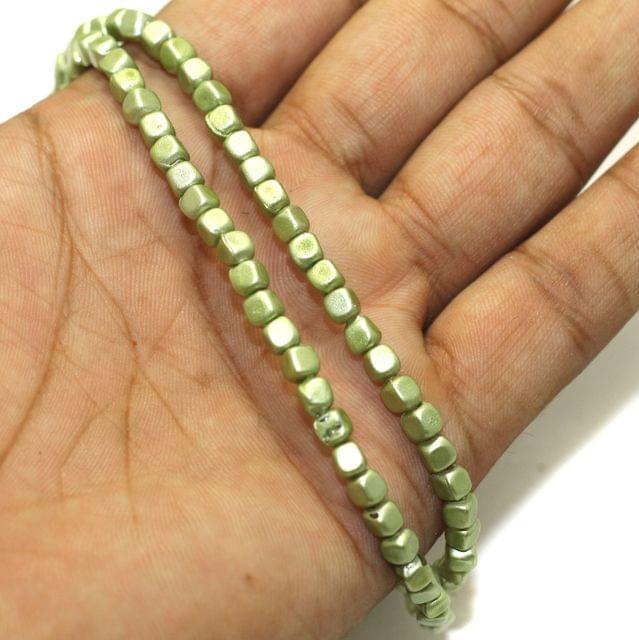 5 Strings Coated Glass Beads Olive 4mm