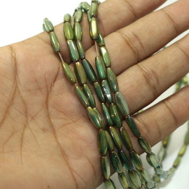 5 Strings Fire Polish Oval Glass Beads Green 13x4mm