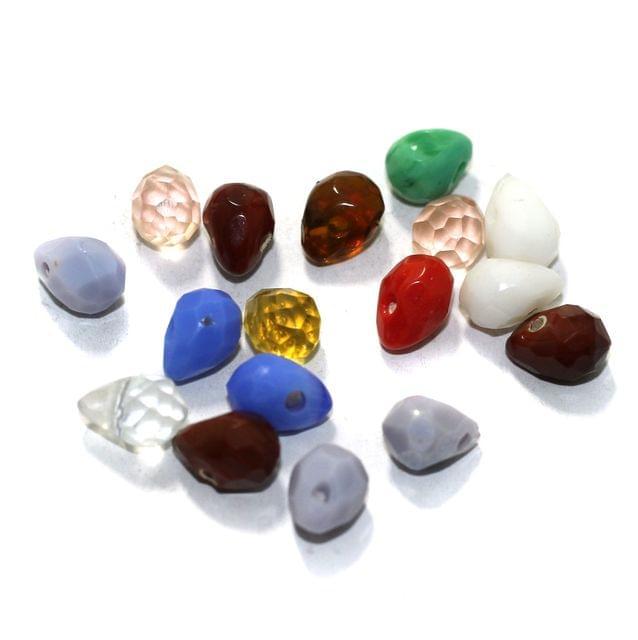 100 Pcs Glass Faceted Drop Beads Multicolor 9x6mm
