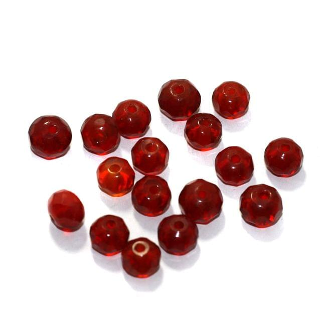 100 Pcs Glass Faceted Round Beads Dark Red 10mm