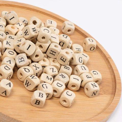 500 Pcs Wooden Alphabet Beads Square 10mm