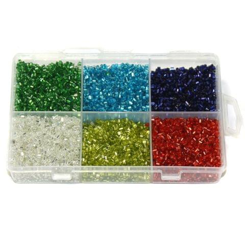2 Cut Silver Line Glass Seed Beads DIY Kit for Jewellery Making, Beading, Embroidery and Art and Crafts, Size 11/0 (2mm)