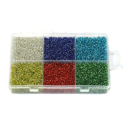 Silver Line Glass Seed Beads DIY Kit for Jewellery Making, Beading, Embroidery and Art and Crafts, Size 11/0 (2mm)