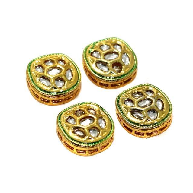 4 Pcs Kundan Spacer Beads 18mm
