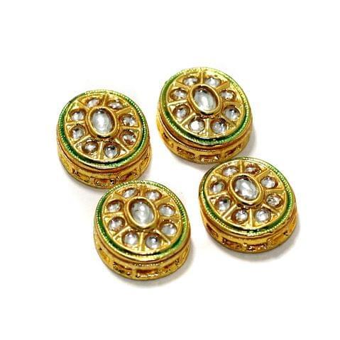 4 Pcs Kundan Spacer Beads 19x16mm