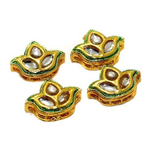 4 Pcs Kundan Spacer Beads 21x16mm