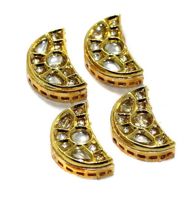 4 Pcs Kundan Spacer Beads 21x13mm