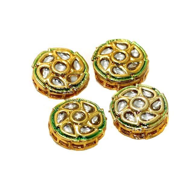 4 Pcs Kundan Spacer Beads 17mm