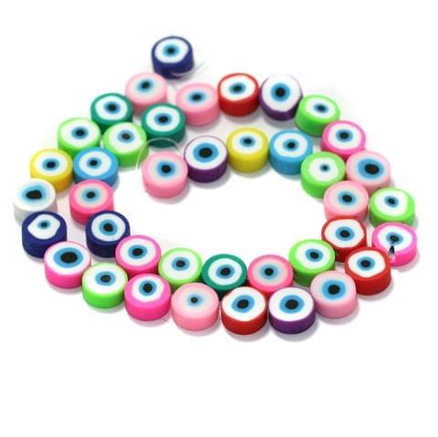 Evil Eye Polymer Clay Fimo Beads 1 String, 10x4mm