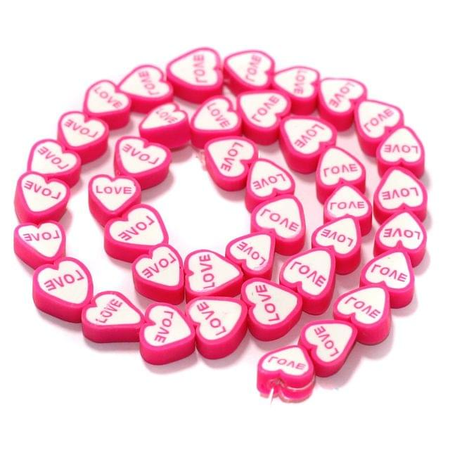Love Heart Polymer Clay Fimo Beads 1 String, 8x4mm