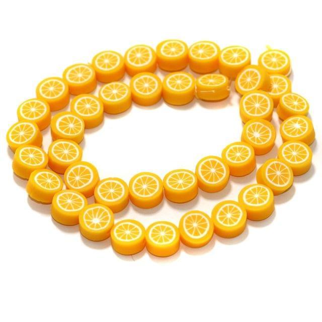 Orange Polymer Clay Fimo Beads 1 String, 10x4mm