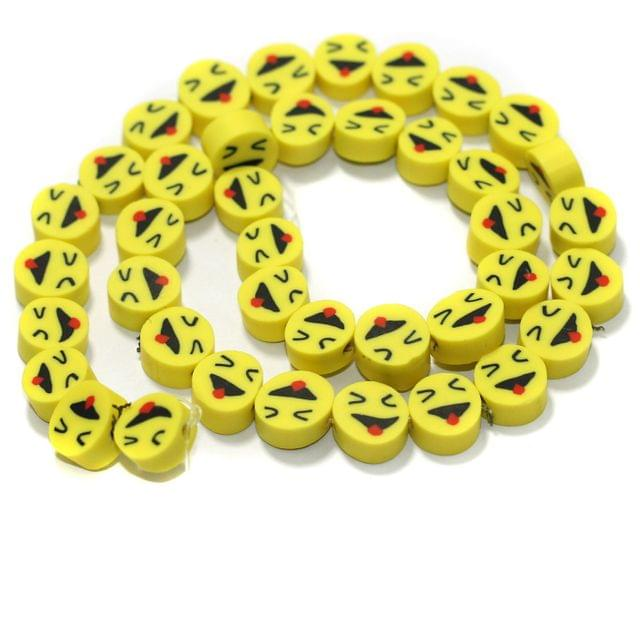 Yellow Smiley Face Polymer Clay Fimo Beads 1 String, 10x4mm