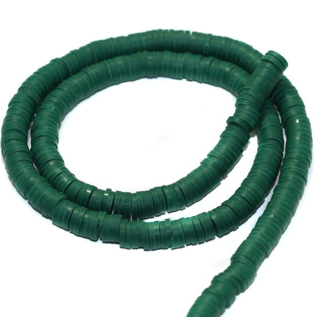 Green Polymer Clay Fimo Ring Beads 1 String, 6mm