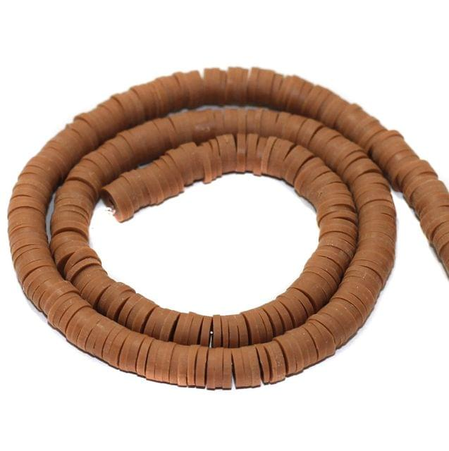 Brown Polymer Clay Fimo Ring Beads 1 String, 6mm