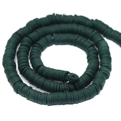 Dark Green Polymer Clay Fimo Ring Beads 1 String, 6mm