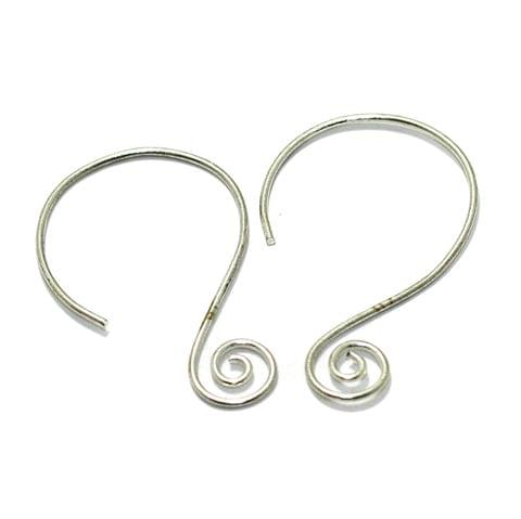 2 Pairs Brass Earring Components Silver