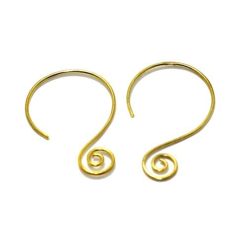 2 Pairs Brass Earrings Components Golden