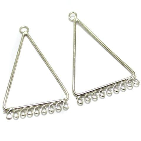 2 Pairs Brass Earrings Components Triangle 1.75 Inch