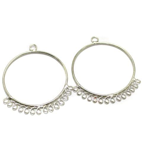 2 Pairs Brass Earrings Components Round 1.50 Inch