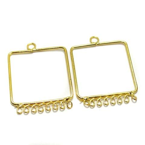 2 Pairs Brass Earrings Components Square Golden 1.25 Inch