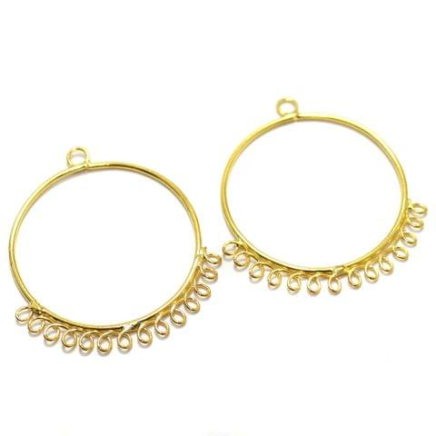 2 Pairs Brass Earrings Components Round Golden 1.50 Inch