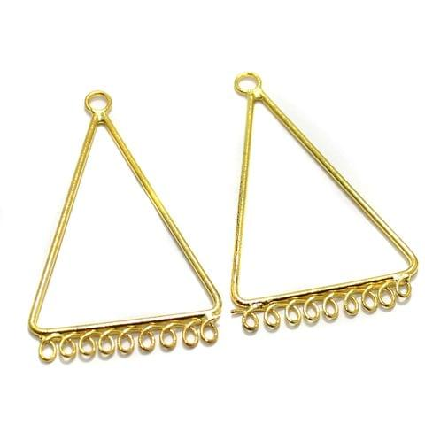 2 Pairs Brass Earrings Components Triangle Golden 1.75 Inch