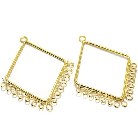2 Pairs Brass Earrings Components Diamond Golden 2 Inch