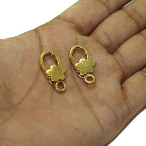 10 Pcs Gold Finish Large Flower Lobster Clasps 27X13mm